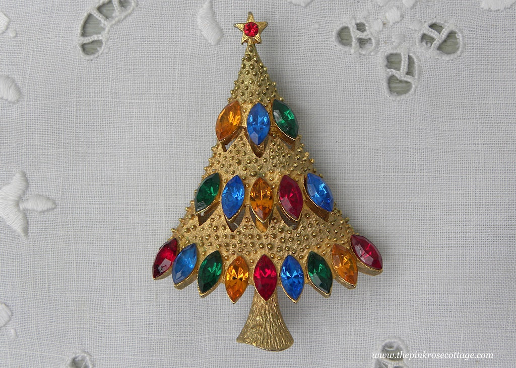 Vintage J.J. Christmas Tree Pin with Multicolored Rhinestones