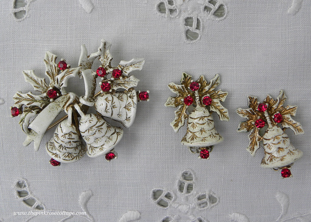 Vintage Dodds Christmas Bells Enamel and Rhinestone Pin and Earring Set