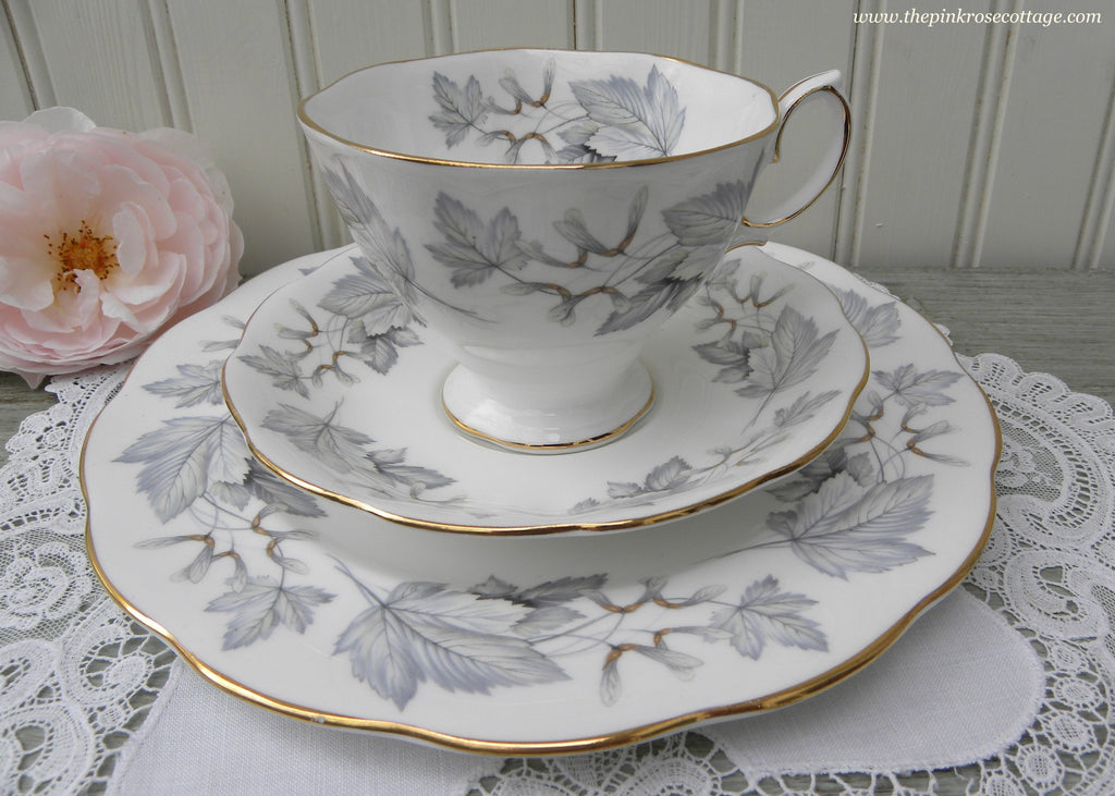 Vintage Royal Albert Silver Maple Leaves Teacup Saucer and Luncheon Plate