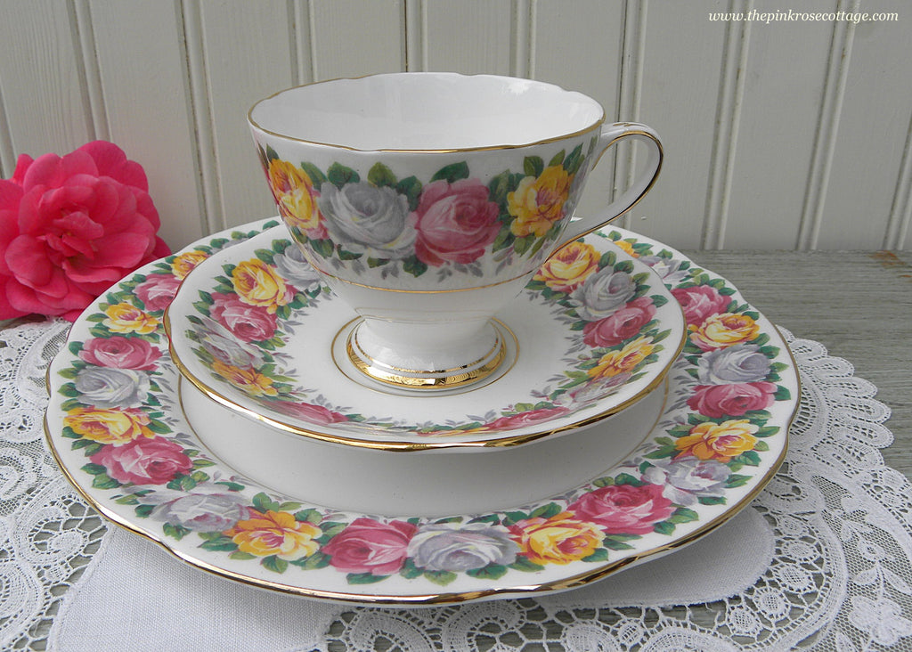 Vintage Rosemary Pink Yellow White Rose Teacup Saucer and Plate