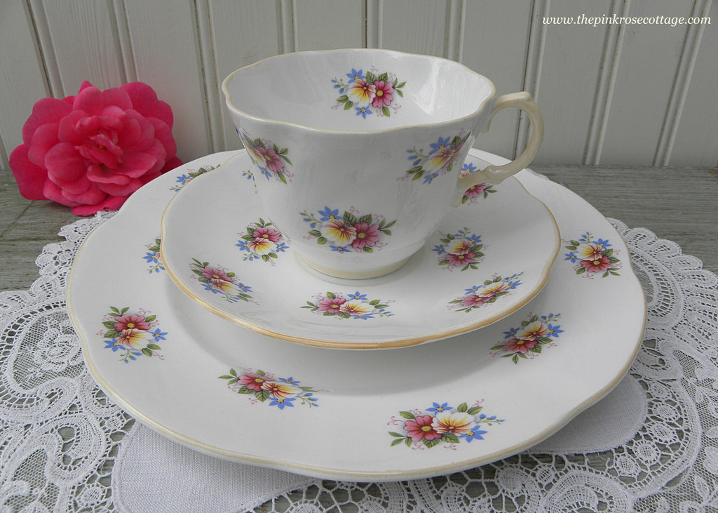 Vintage Rosina Pansies Daisies and Forget Me Nots Teacup Saucer and Plate
