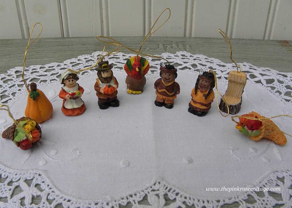 9 Miniature Thanksgiving Ornaments Pilgrims Pumpkins & More