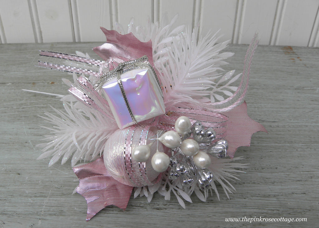 Vintage Christmas Corsage Pick with Pink Package Bulb and Bow