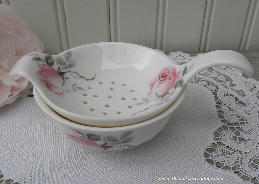 Allyn Nelson Soft Pink Rose Bone China Tea Strainer - The Pink Rose Cottage