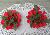 Pair of Vintage Christmas Poinsettia Taper Candle Rings