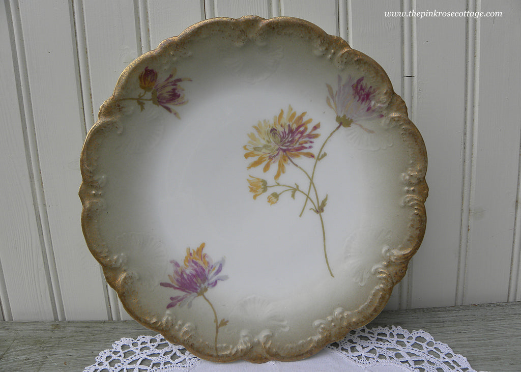 Vintage Hand Painted Chrysanthemums Limoges France Plate
