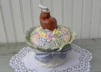 Vintage Fitz and Floyd Bunny Rabbit Basket Cookie Jar Canister
