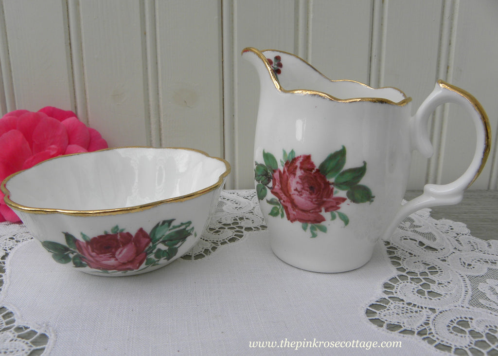 Vintage Red Rose Open Sugar Bowl and Creamer