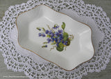 Vintage Crown Staffordshire Purple Cottage Violets Trinket Mint Dish
