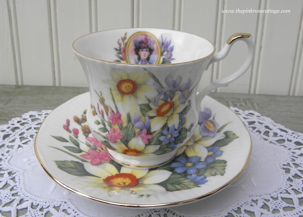 Vintage Queen's China Daffodils Iris Forget Me Nots Victorian Lady Teacup and Saucer