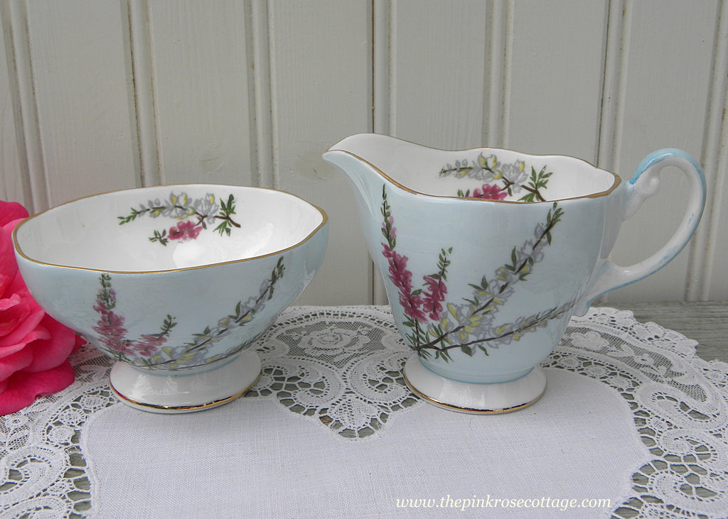 Vintage EB Foley Highland Heather on Blue Sugar and Creamer