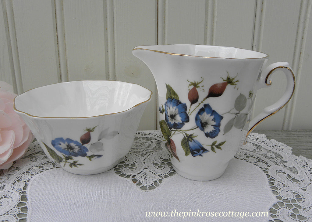 Vintage Blue Morning Glories Open Sugar Bowl and Creamer