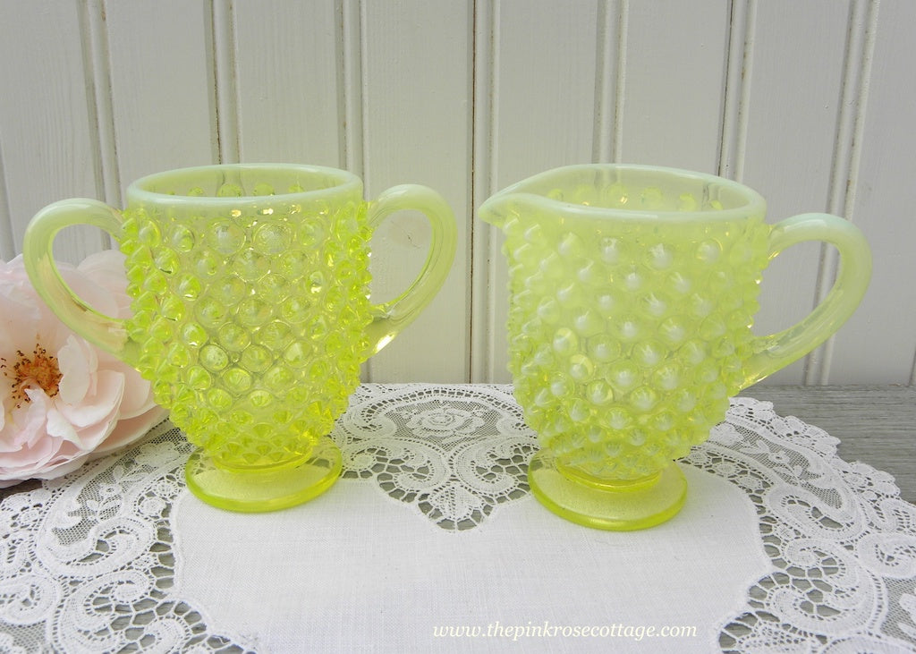 Vintage Fenton Vaseline Glass Opalescent Hobnail Creamer and Sugar