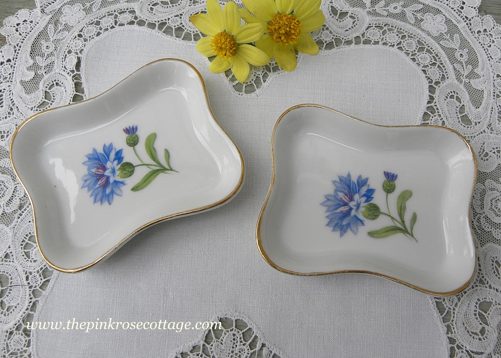Pair of Vintage Vanity Pin Dishes Blue Bachelor Buttons Occupied Japan - The Pink Rose Cottage