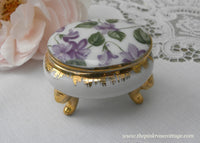 Vintage Purple Violets  Chintz Vanity Ring Oval Trinket Box