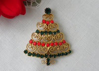 Vintage Christmas Tree Pin Red and Green Rhinestones