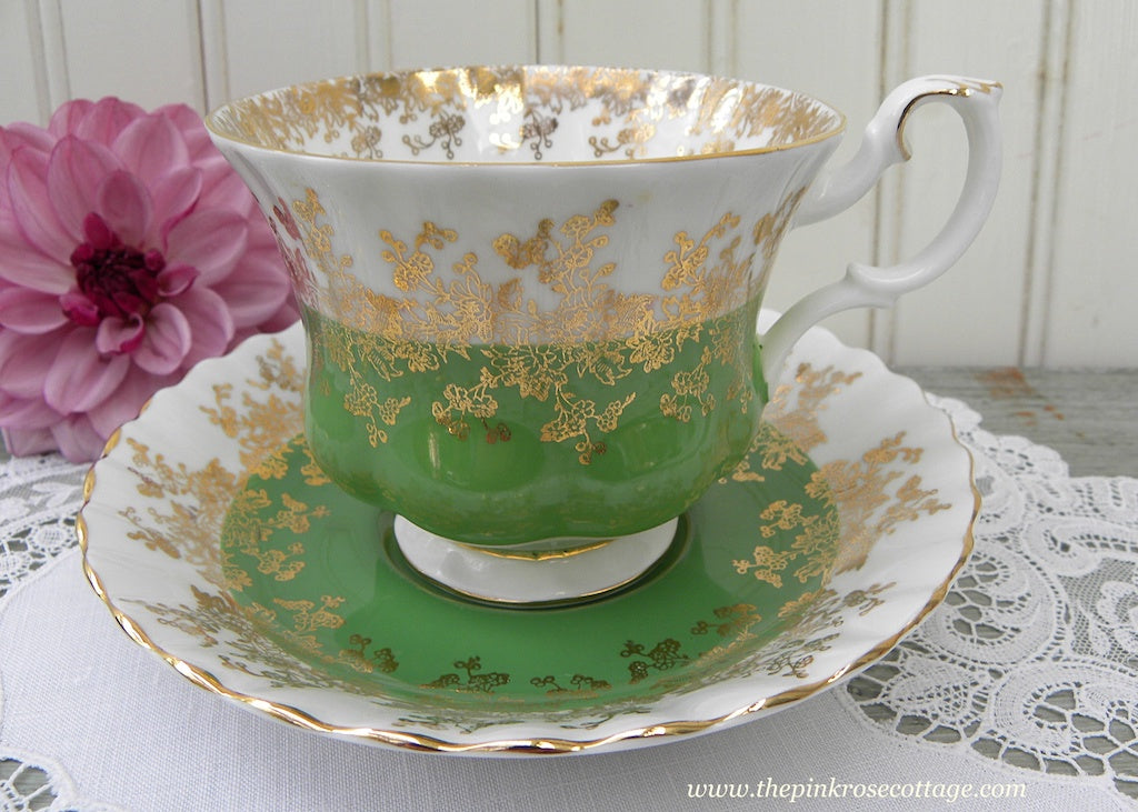 Vintage Royal Albert Green and Gold Teacup and Saucer Regal Series