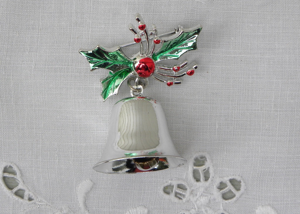 Vintage Silver Bell and Holly Christmas