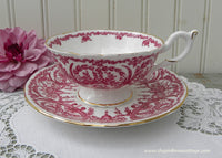 Vintage Coalport Berry Red and White Teacup and Saucer