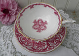Vintage Coalport Red and White Teacup and Saucer