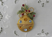 Vintage Rhinestone Christmas Gold Ornament Pin