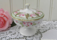 Vintage Hand Painted Nippon Pink Rose Pedestal Ring Trinket Box