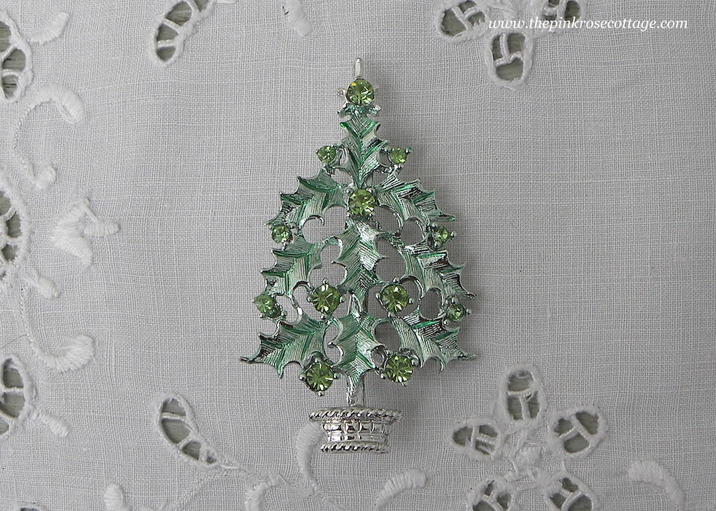 Vintage Enameled Christmas Tree Pin with Light Green Rhinestones