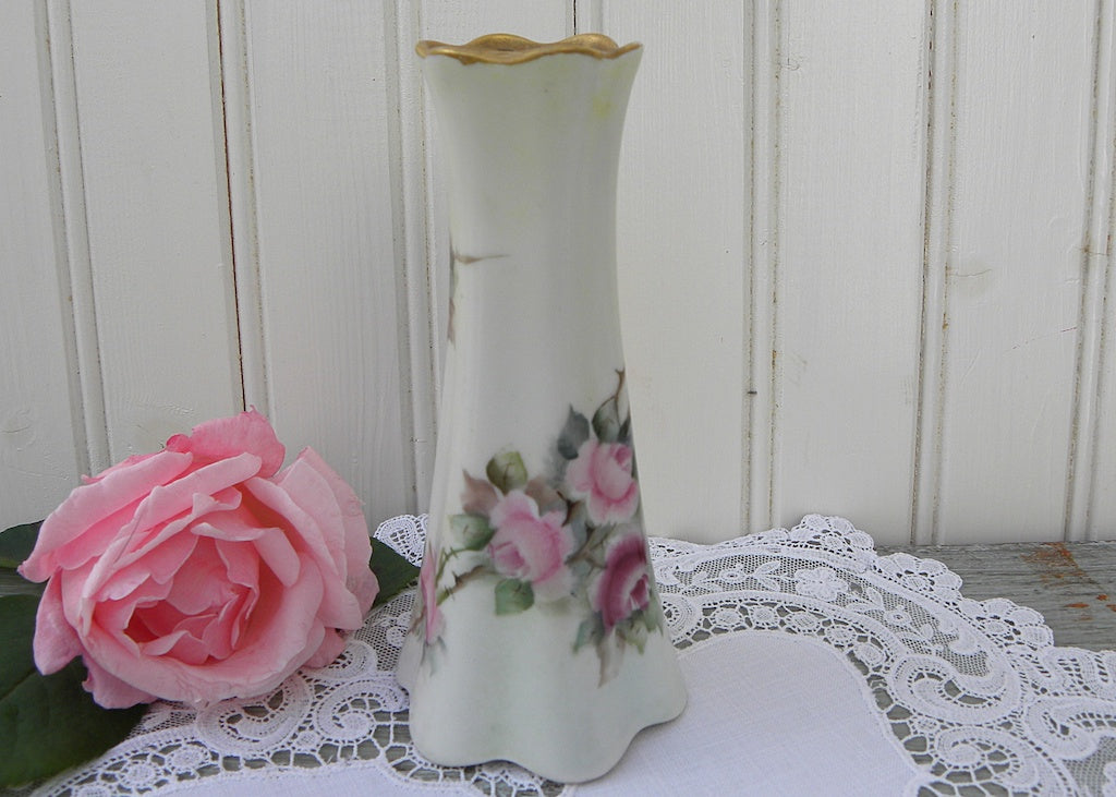 Vintage Hand Painted Pink Roses Hatpin Holder