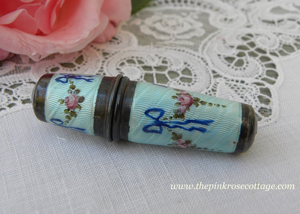 Antique Sterling Guilloche Enamel Thimble Sewing Kit with Etui Pink Roses & Blue Bows - The Pink Rose Cottage