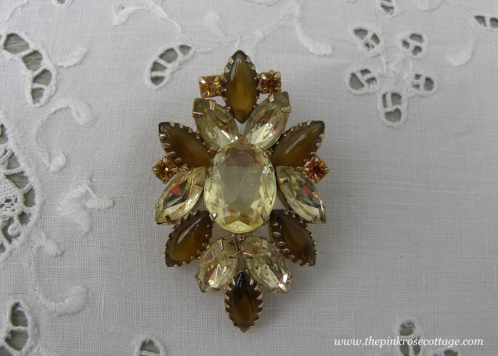 Vintage Light Amber and Opaque Rhinestone Brooch