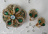Vintage Emerald Green and Aurora Borealis Rhinestone Filagree Pin and Earrings