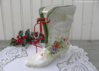 Vintage Inarco Christmas Victorian Shoe Boot Planter Vase