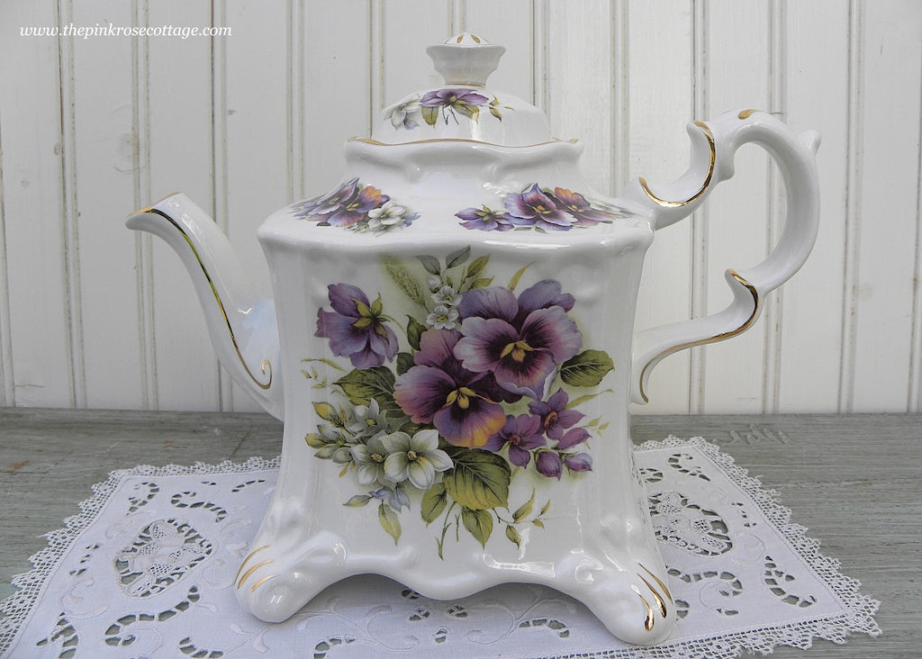 Crown Dorset Staffordshire England Purple Pansy Teapot