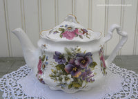 Arthur Wood & Son Teapot Pansies Pink Roses and Violets