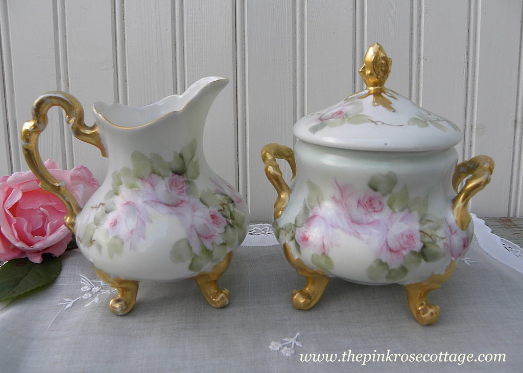 Vintage Hand Painted Pink Roses Footed Sugar and Creamer France