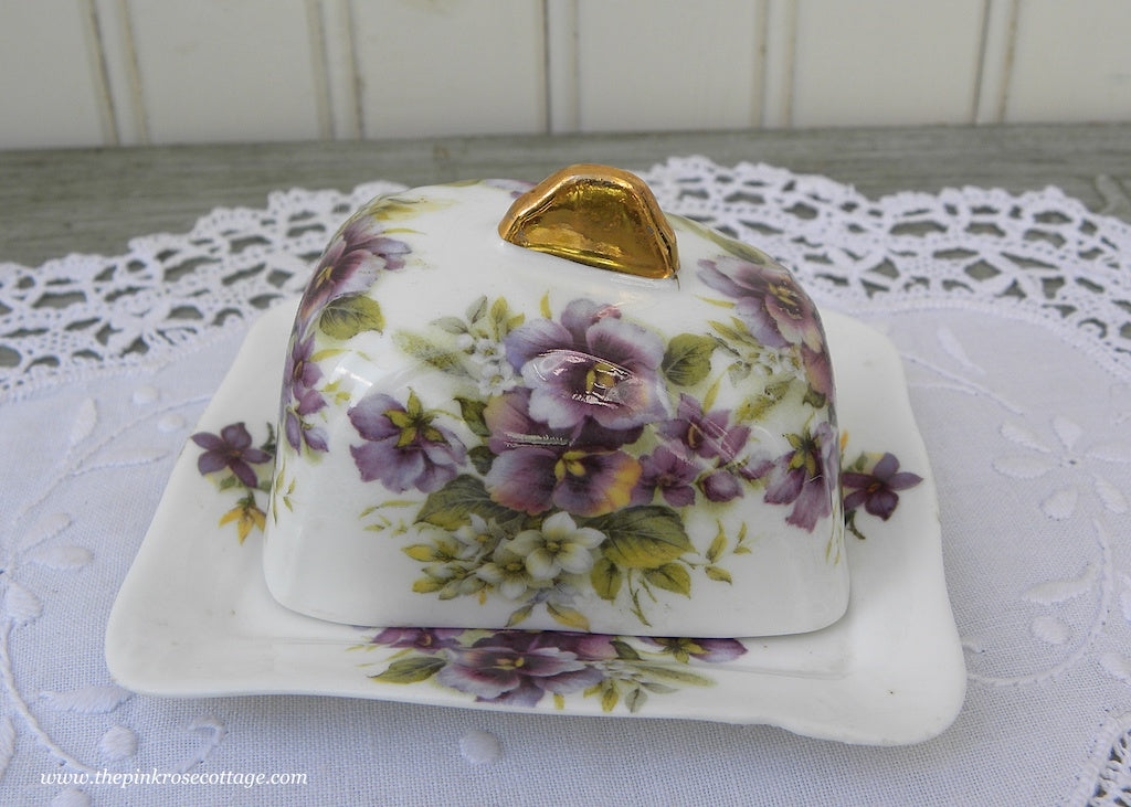 Childs Play Dishes Covered Cheese Plate with Purple Pansies England