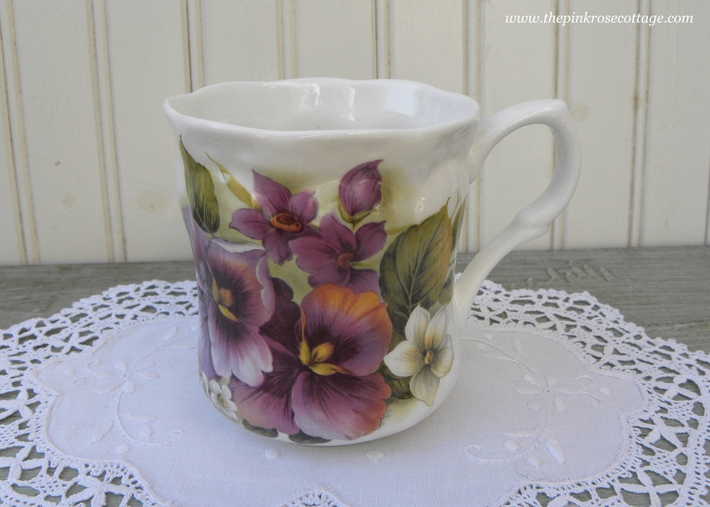 Vintage Style Pansies and Violets Tea Coffee Mug Made in England