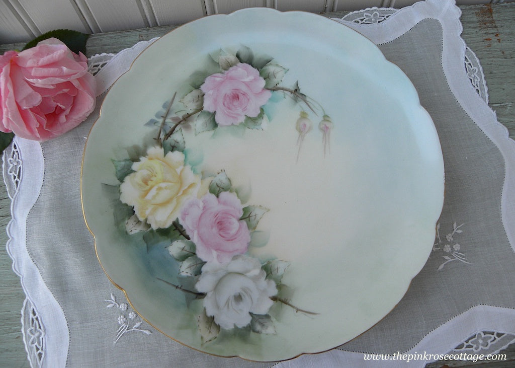 Vintage Hand Painted Pink Yellow and White Roses Plate