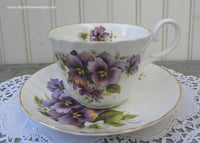 Allyn Nelson Collection Vintage Style Teacup and Saucer with Pansies