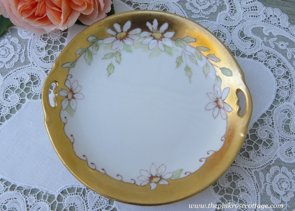 Hand Painted Small Handled Plate Gold and Daisies - The Pink Rose Cottage