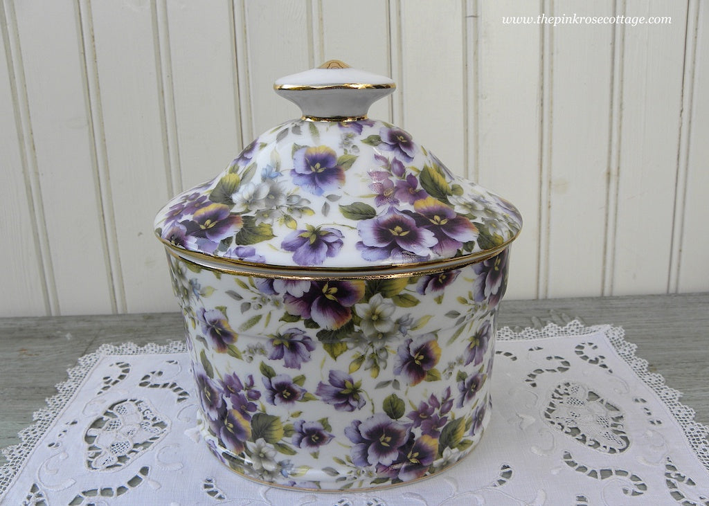 Vintage Style Chintz Pansy Porcelain Tea Caddy