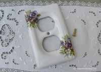 NIP Liette International Porcelain Switch Outlet Plate with Purple Pansies