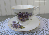 Royal Court England Purple Pansy Pansies Teacup and Saucer