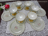 6 Vintage Dessert Sets Sorbet Compote and Plate Sage Green Pink Roses - The Pink Rose Cottage