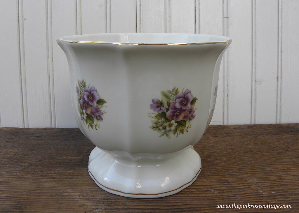 Formalities By Baum Brothers Purple Pansies Jardiniere Planter