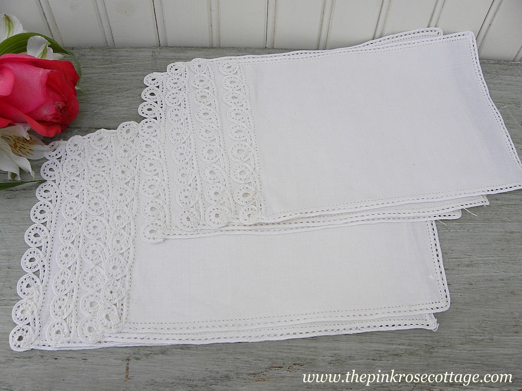 8 Unused MWT Belgium Linen and Lace Cocktail Napkins - The Pink Rose Cottage