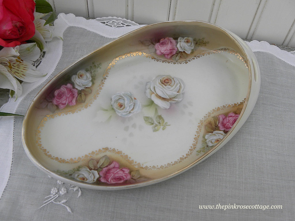Vintage Hand Painted Pink and White Roses Trinket Candy Dish