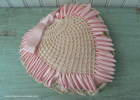Vintage Hand Made Satin Ribbon Crocheted Pink Heart Pillow