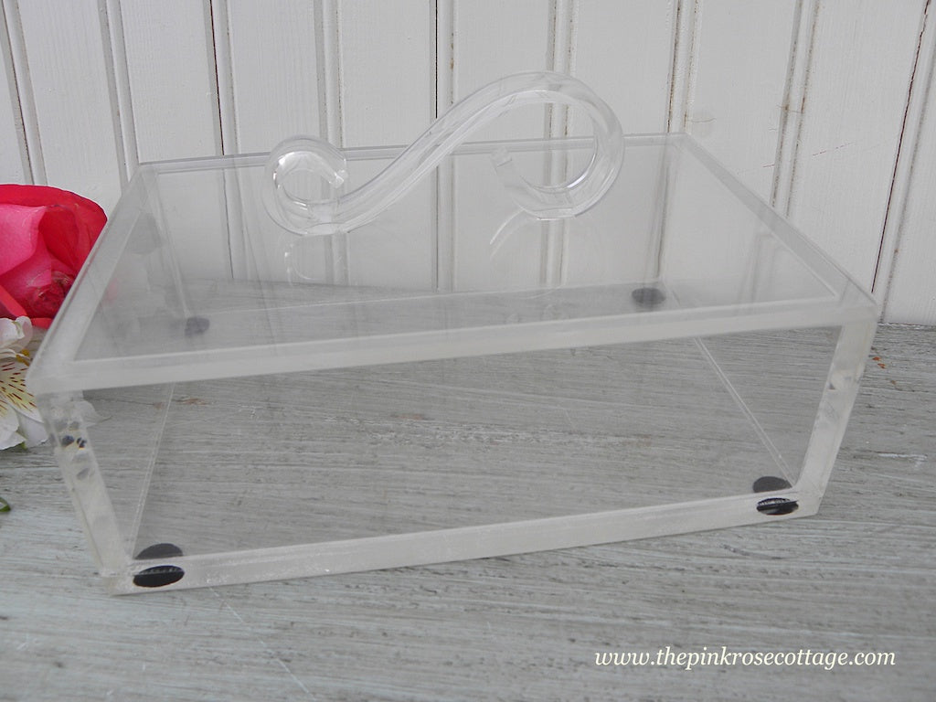 Vintage Vanity Lucite Jewelry Box Swirl Handle