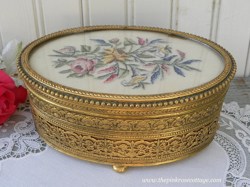 Vintage Apollo Filagree and Petit Point Embroidered Pink Roses Jewelry Trinket Box